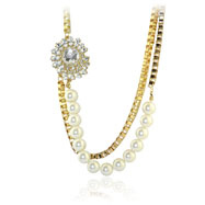 Gold-Tone Pearl And CZ Fancy Stylish Necklace