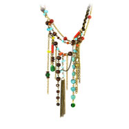 Copper-Tone Multicolor Dangle Necklace