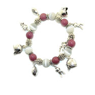 Football Theme Silver Tone Multicolor Charms Bracelet