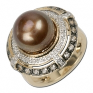 Brown Pearl Diamond Ring