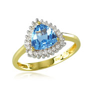 14K Yellow Gold Diamond Trimmed Trillion-Cut Blue Topaz Ring