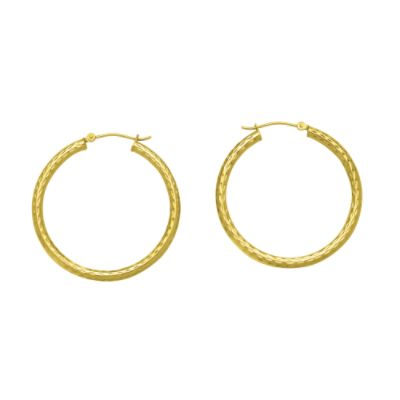 14K 2x30mm Diamond-Cut Hoop Earrings
