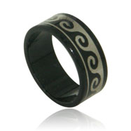 Stainless Steel Black Waves  Band