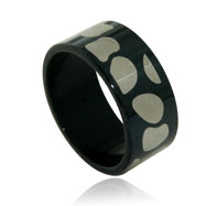 Stainless Steel Black Stone  Band