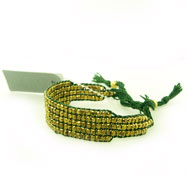 Green and Gold Bead Wrap Bracelet