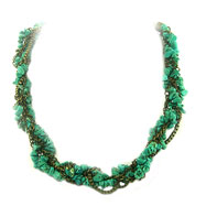 Brass Tone Turquoise Necklace 16""