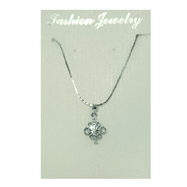 Silver-tone CZ Flower Necklace