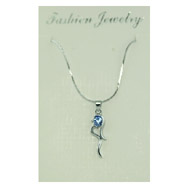 Silver-tone Blue CZ Fancy Necklace