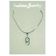 Silver-tone CZ Necklace