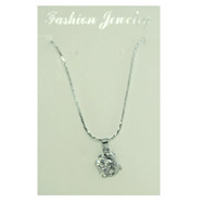 Silver-tone CZ Dolphins Necklace