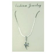 Silver-tone CZ Star Necklace