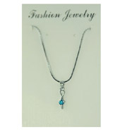 Silver-tone Green CZ Necklace