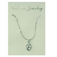 Silver-tone CZ Heart Necklace
