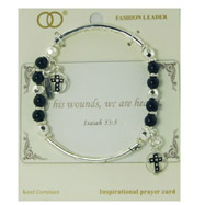 Silver-tone Stretch Bracelet With Black Beads