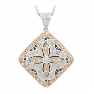 Round Diamond Two Tone Locket Pendant w/Chain