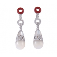 FANCY SHAPE MULTIPLE COLOR OF MOTHER PEARLS ROUND DIAMOND WITH WHITE GOLD EARRINGS