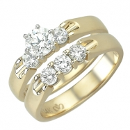 3-Stone Yellow Gold Diamond Bridal Set Ring