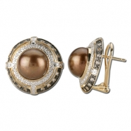 Brown Pearl Diamond Earring