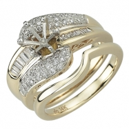 Reflex Yellow Gold Diamond Bridal Set Ring