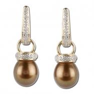 Brown Pearl Diamond Earrings