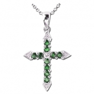 Emerald Diamond Cross Necklace