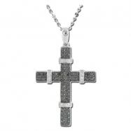 Black White Diamond Cross Necklace - White Gold