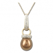 Brown Fresh Water Pearl Diamond Necklace