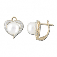 Fresh Water Pearl Diamond Heart Shape YG Earrings