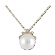 Fresh Water Pearl with Diamonds Yellow Gold Necklace
