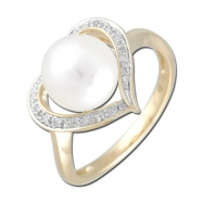 Fresh Water Pearl Diamond Heart Shape YG Ring