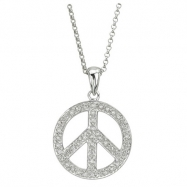 Diamond Necklace - Peace Sign