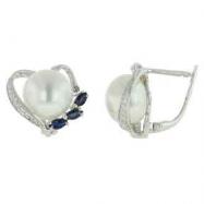 Fresh Water Pearl Diamond Blue Sapphire Earrings