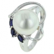 Fresh Water Pearl Blue Sapphire Diamond Ring