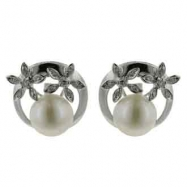 Fresh Water Pearl Diamond Earrings
