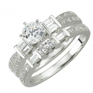 14K White Gold Round and Baguette Diamond Bridal Ring