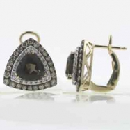 Smoky Topaz Brown Color Diamond Earrings