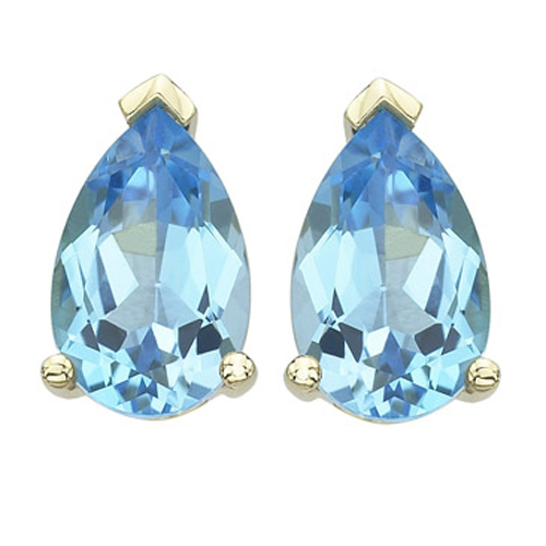 Pear Shape Blue Topaz Prong Set Studs. Price: $244.00