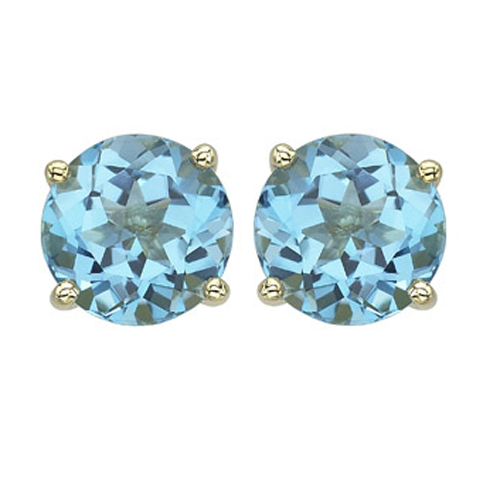 Round Blue Topaz Prong Set Studs. Price: $232.00