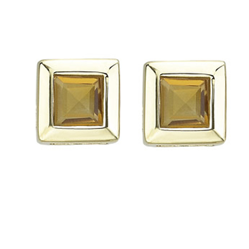 SQUARE YELLOW CITRINE STUDS. Price: $142.00