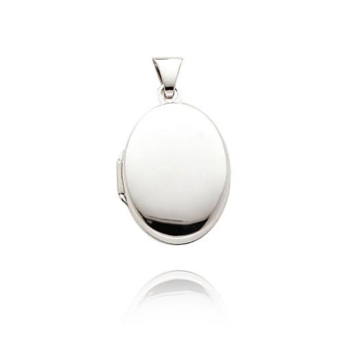 14K White Gold Small Oval-Shaped Plain Polished Locket. Price: $96.66
