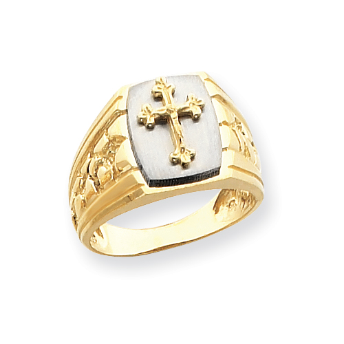 14k Two-Tone Cross on Top Mens Ring. Price: $567.29