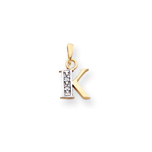 14k & Rhodium Polished .01ct Diamond Initial K Charm. Price: $68.56