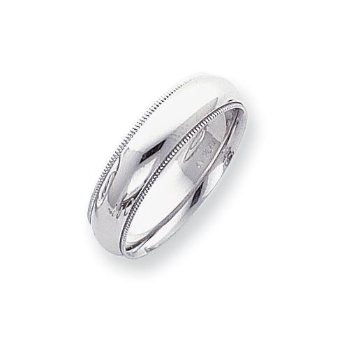 Platinum 6mm Comfort-Fit Milgrain Size 5 Wedding Band ring. Price: $1296.05