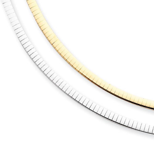 14k Two-tone Reversible 4mm Omega Necklace chain. Price: $1108.40