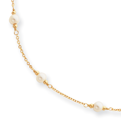 16in  Gold-plated  Small White Glass Pearl Necklace chain. Price: $33.60