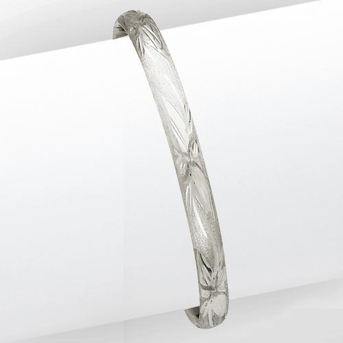 14k 3/16 White Gold Florentine Baby Bangle Bracelet. Price: $323.42