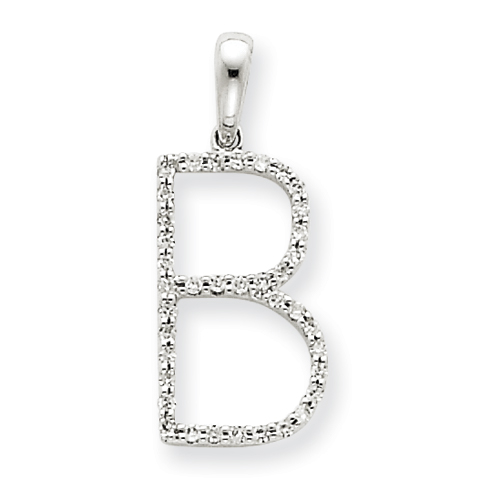 14k White Gold Diamond Initial B Pendant. Price: $280.92