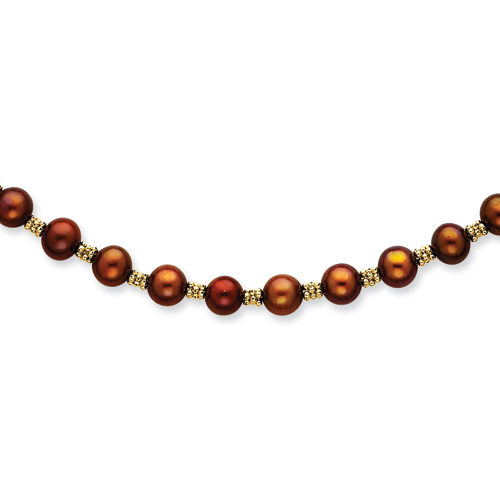 14K Chocolate Cultured Pearl & Bead Necklace chain. Price: $375.22