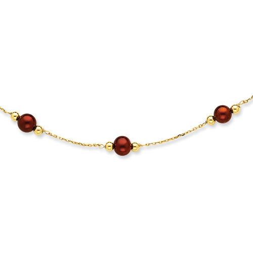 14K Chocolate Cultured Pearl & Bead Necklace chain. Price: $287.82
