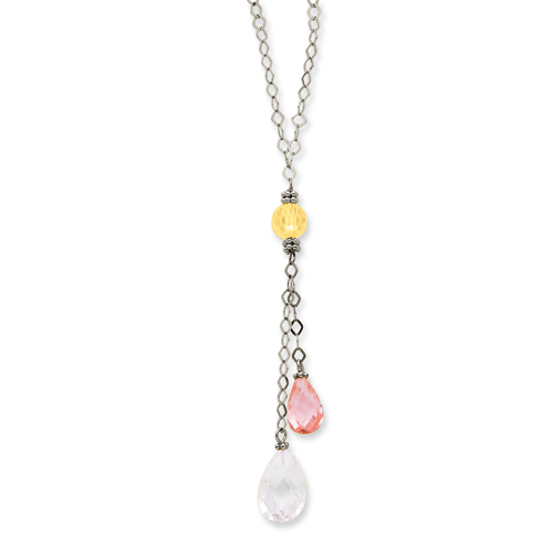 14K White Gold Clear & Pink CZ Necklace chain. Price: $203.10